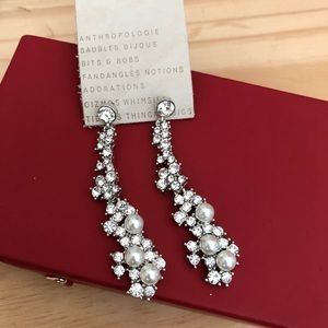 NWT Anthropologie statement pearl crystal earrings